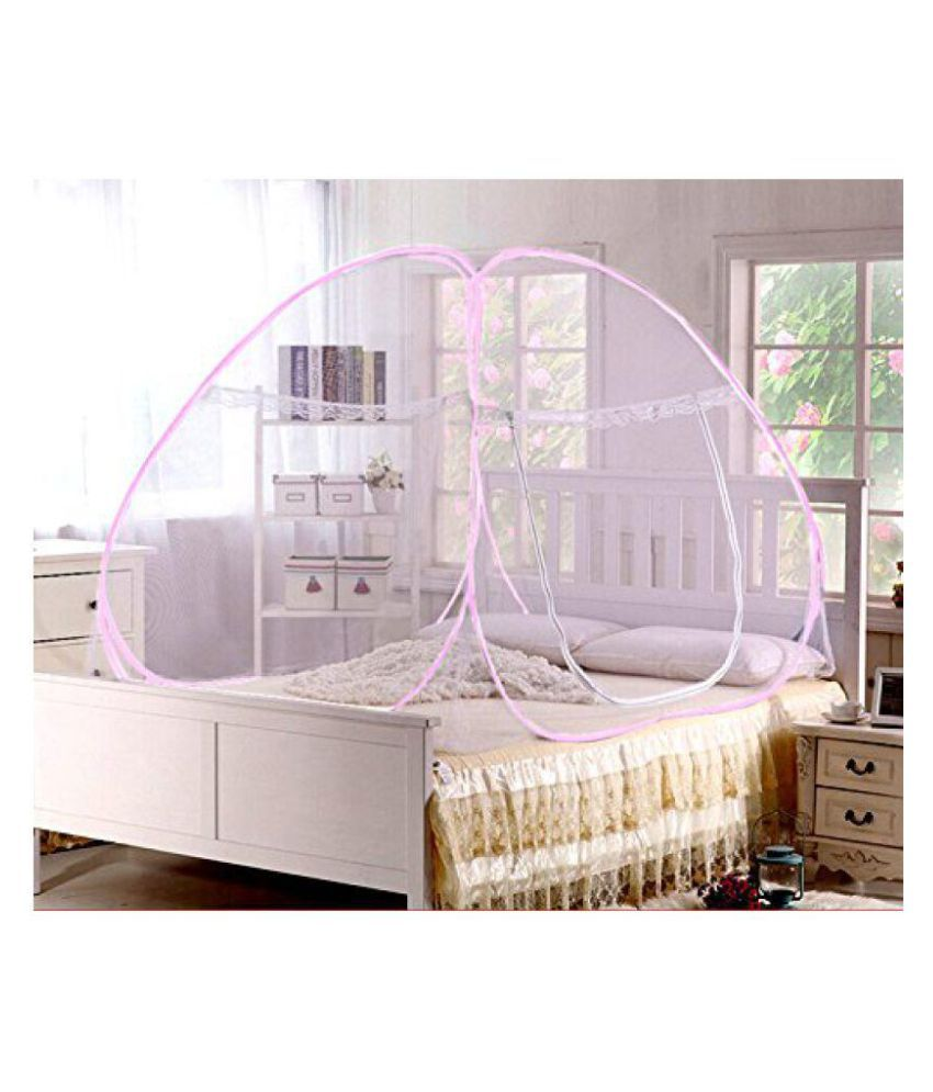 YUTIRITI Single Bed Foldable Mosquito Net White (Pink Border) (200 x 120 x 140cm)