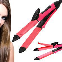 Jm 2 in 1 Flat Iron Professional Travel Hair Straighteners 45W Hair Straightener ( Red )