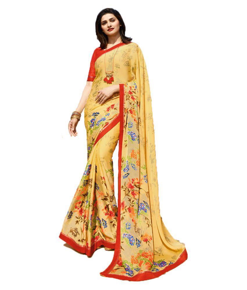 Genius Creation Yellow Silk Saree