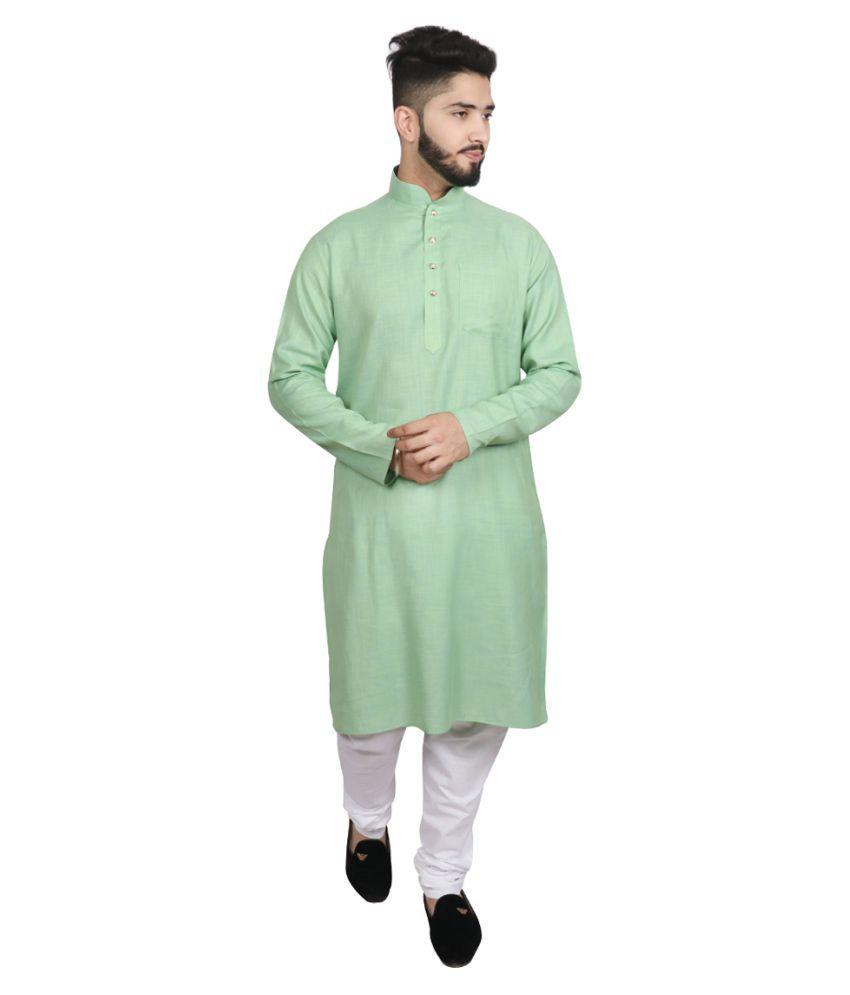 SG LEMAN Light Green Cotton Kurta Pyjama Set