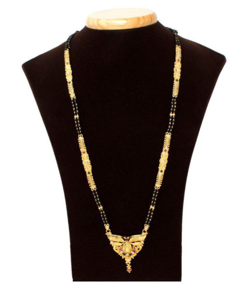 Indian Mangalsutra 22K Gold Plated Black Beads 26 ...