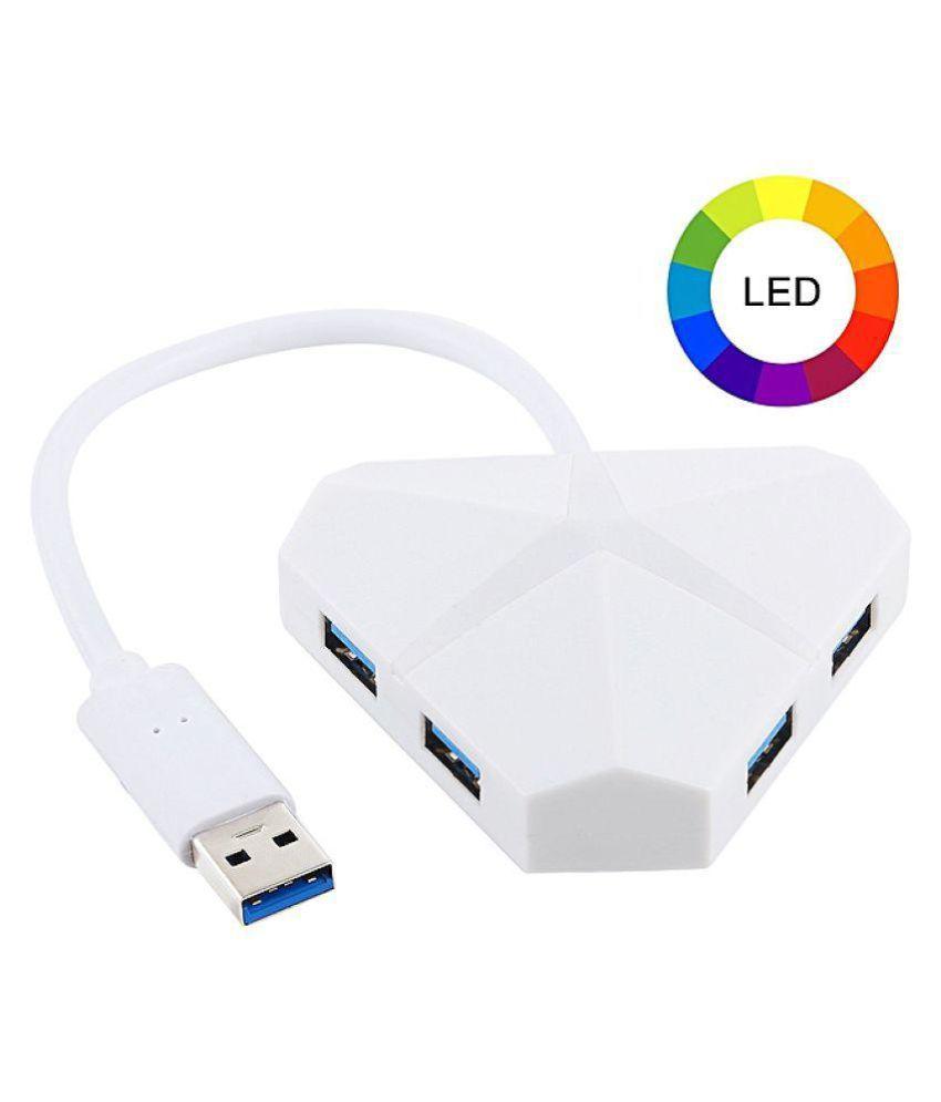 LipiWorld 4 port USB Hub 5 GBPS USB 3.0 With Breathing Lights High Speed Hub