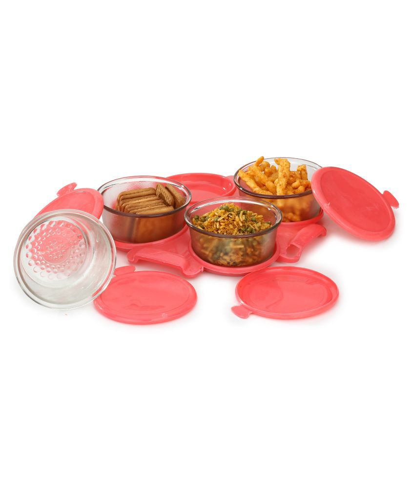 Somil Transparent container Set With Serving Tray Glass Food Container Set of 4