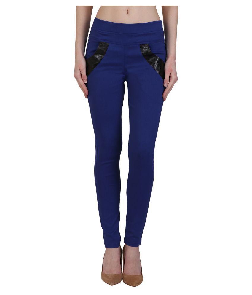 Kalakaari Cotton Lycra Jeggings - Blue