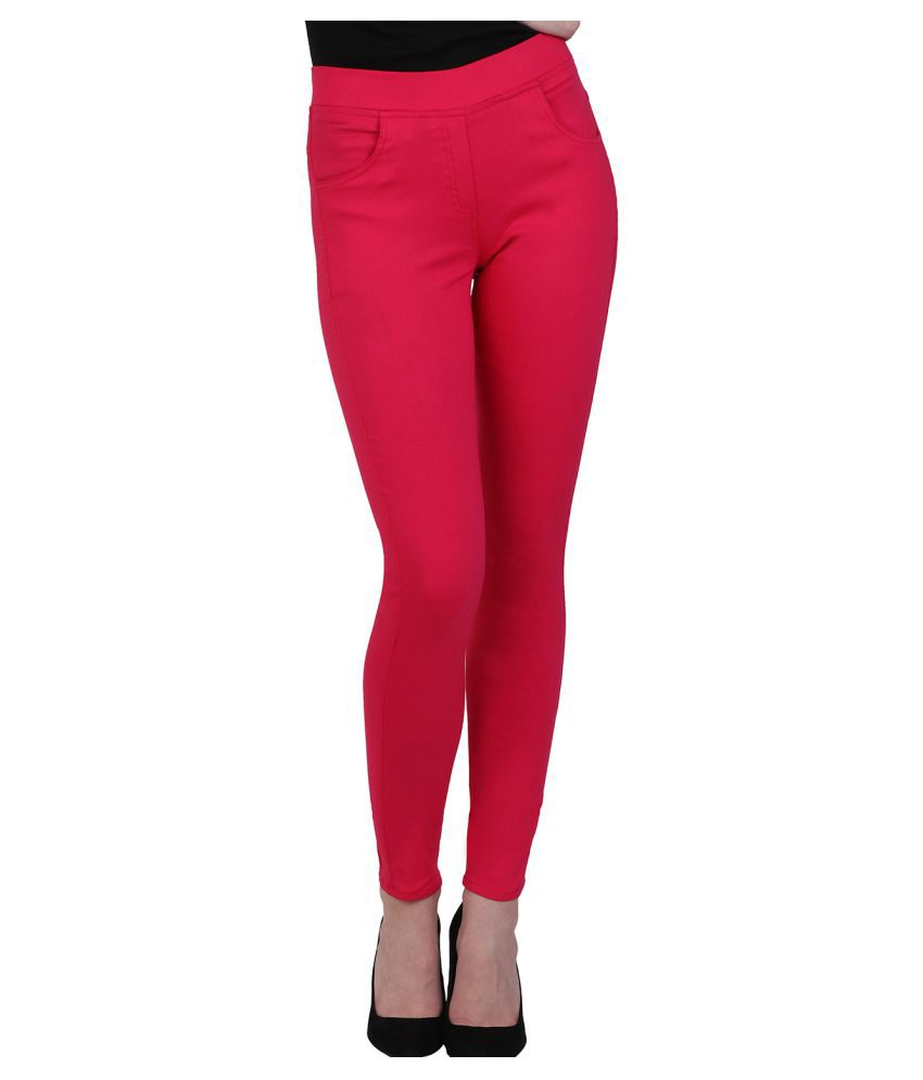 Kalakaari Cotton Lycra Jeggings - Pink