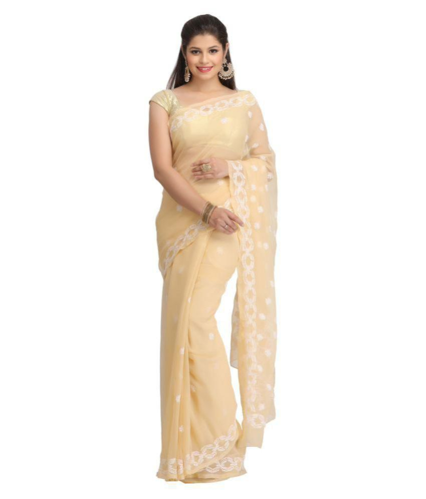 b6beeec653 Ada White and Beige Georgette Saree - Buy Ada White and Beige Georgette  Saree Online at Low Price - Snapdeal.com