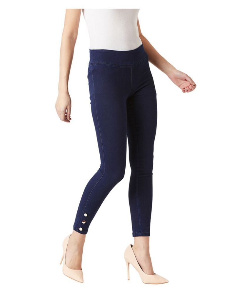 b1dcab09d9c625 Buy Miss Chase Cotton Jeggings - Navy Online at Best Prices in India -  Snapdeal