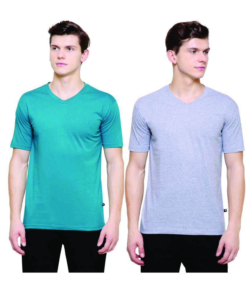 PROTEENS Men's V-Neck T-Shirt Grey & P.Green Combo Pack of 2