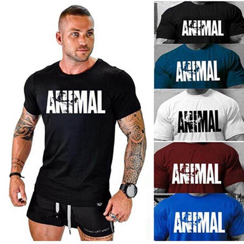 Casual Shirts,Round Neck Tops,Men Gym Fitness Printing Letters Animal Tank O-Neck T Shirt Muscle Training