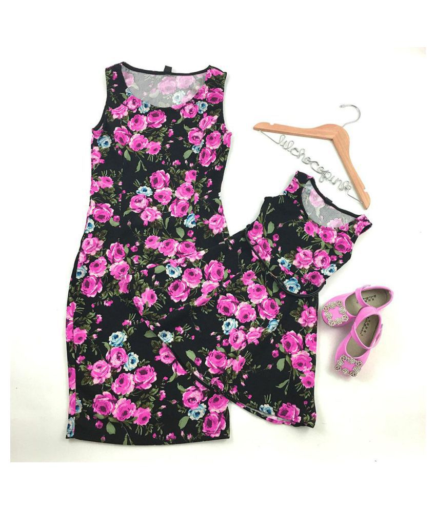 2f9433654 ... New Women Mother Daughter Matching Dresses Summer Girl Floral Dress  Clothes Outfit