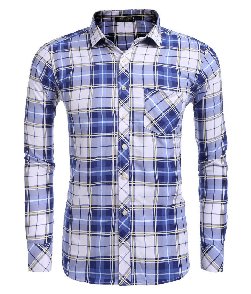 Men Long Sleeve Plaid  Button Front Shirts