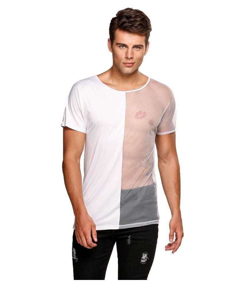 Men's Fasion Short Sleeve See-through Mesh Clubwear T-Shirt