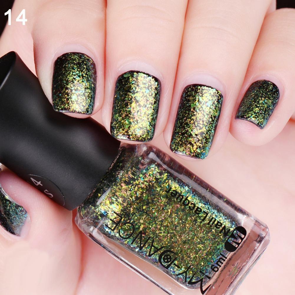 Women\'s Duochrome Glitter Shimmer Long Lasting Chameleon Nail Polish ...