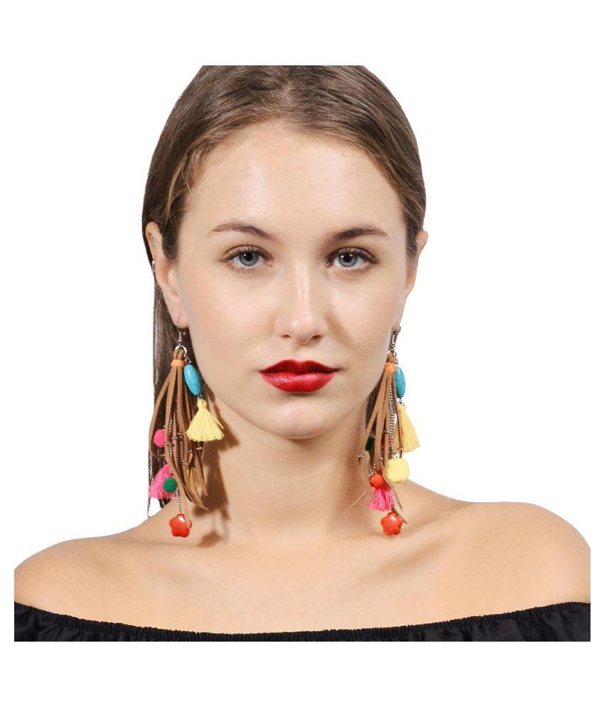 Multicolor Shoulder Duster Earrings Tassel Pom Pom Flower Statement Jewelry