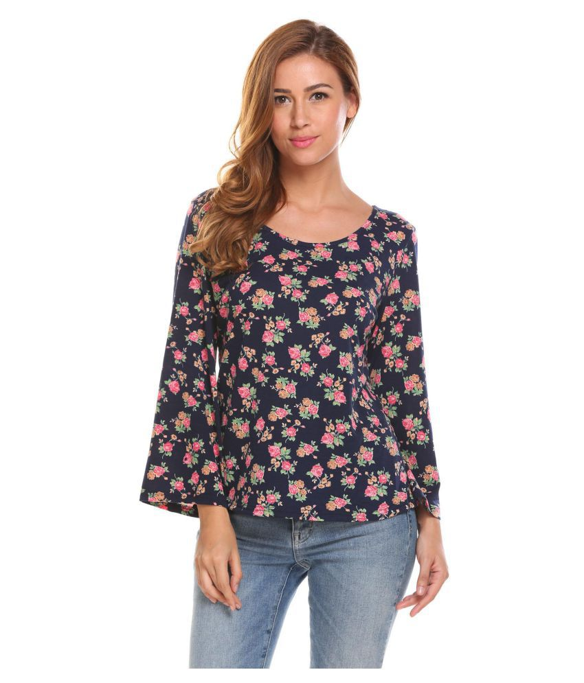 3622da7e5f4 Buy Women Long Sleeve Hollow Out Floral Print Casual Loose T-Shirt Tops  Online at Best Prices in India - Snapdeal
