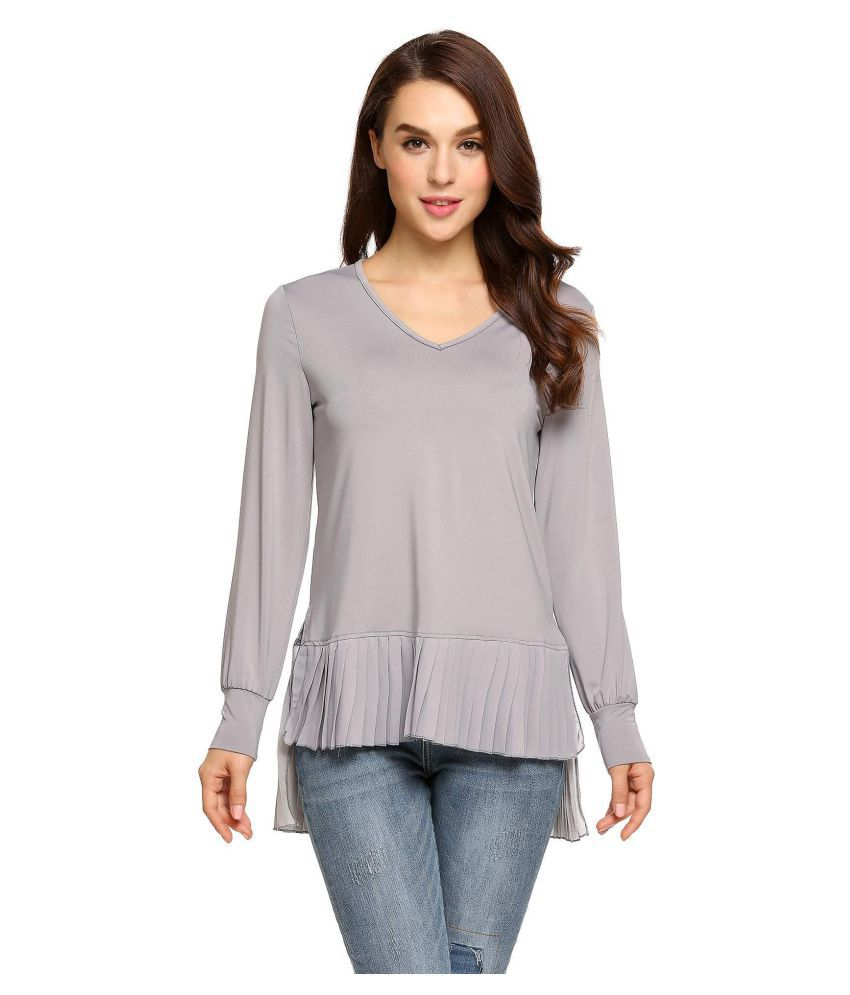 0c8127c5634aaf Buy Women V-Neck Long Sleeve Chiffon Casual Blouse Online at Best Prices in  India - Snapdeal
