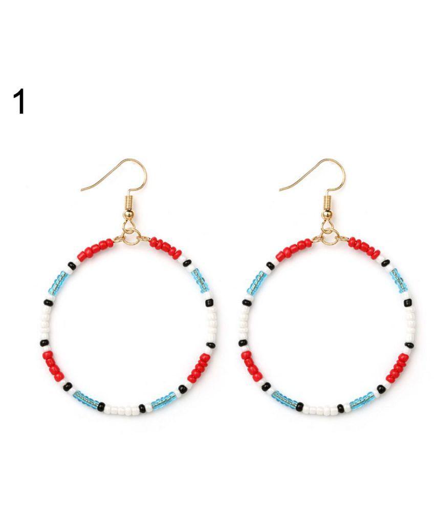 Women's Ethnic Style Multi Color Seed Beads Bohemian Hoop Round Hook Earrings