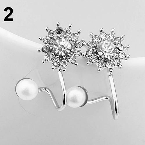 Women Sweet Faux Pearl Rhinestone Snowflake Ear Stud Earrings Jewelry Charm