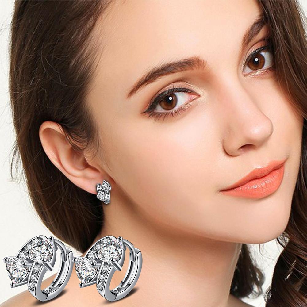 Women's Luxury Sweet Zircon Double Hearts Huggie Ear Clips Hoop Earrings Studs