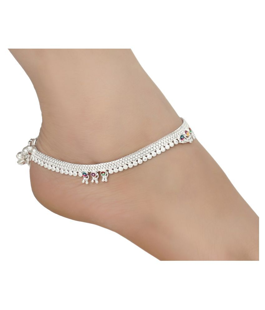 AanyaCentric Indian Traditional Ethnic Fancy Foot Jewelry Pure Silver Plated White Metal Alloy Ghunghru Painjan Payal Stylish Imitation Anklets Pair for Women and Girls
