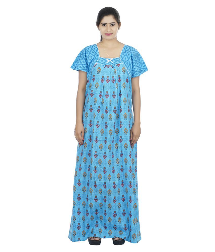 OSF Cotton Nighty & Night Gowns - Blue
