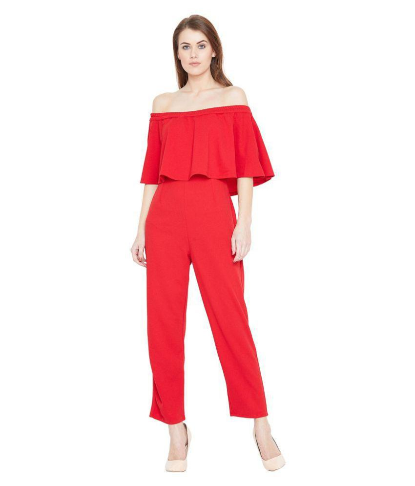 Femella Red Polyester Jumpsuit