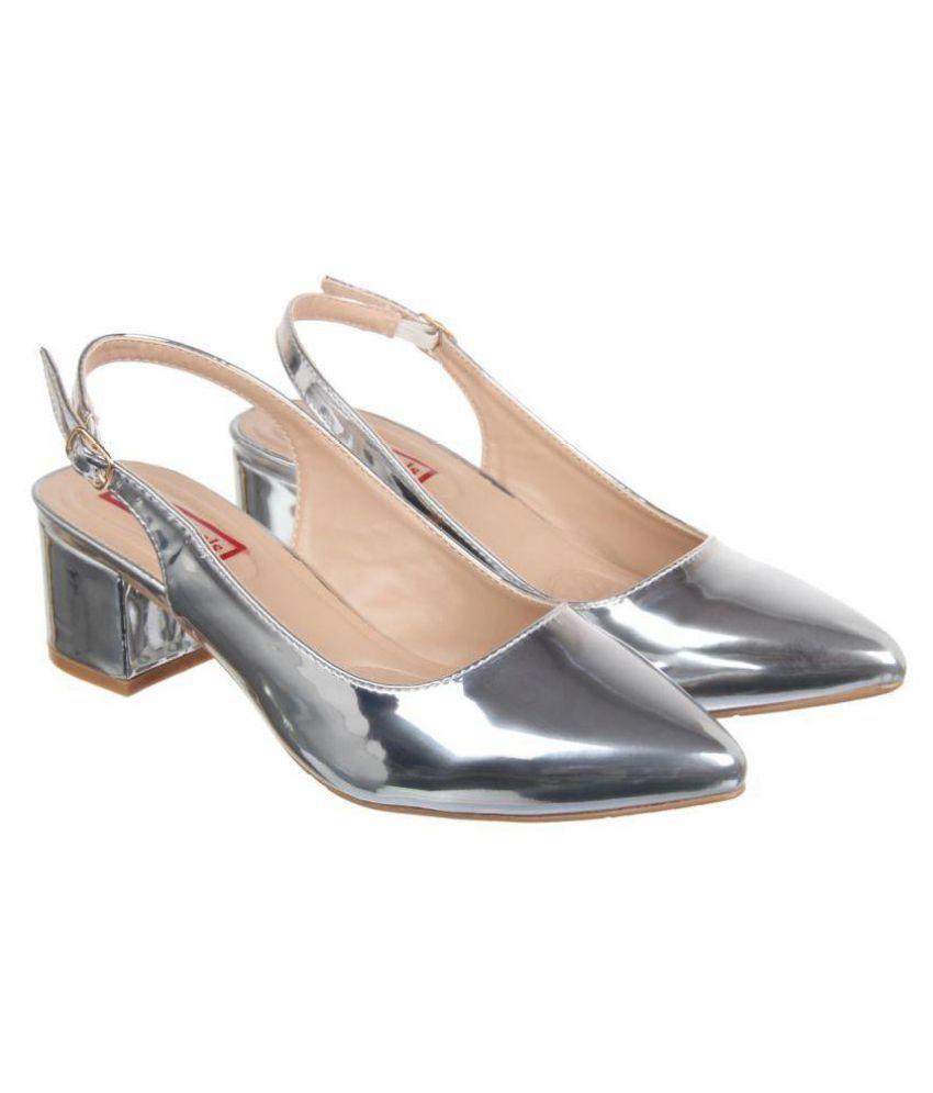 Flat N Heels Silver Block Heels