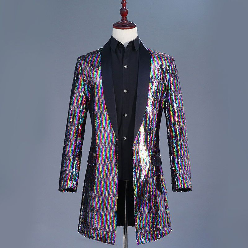 82245a1d2d Haorun Men Multi Color Glitter Sequins Longline Jacket Suit Blazer ...