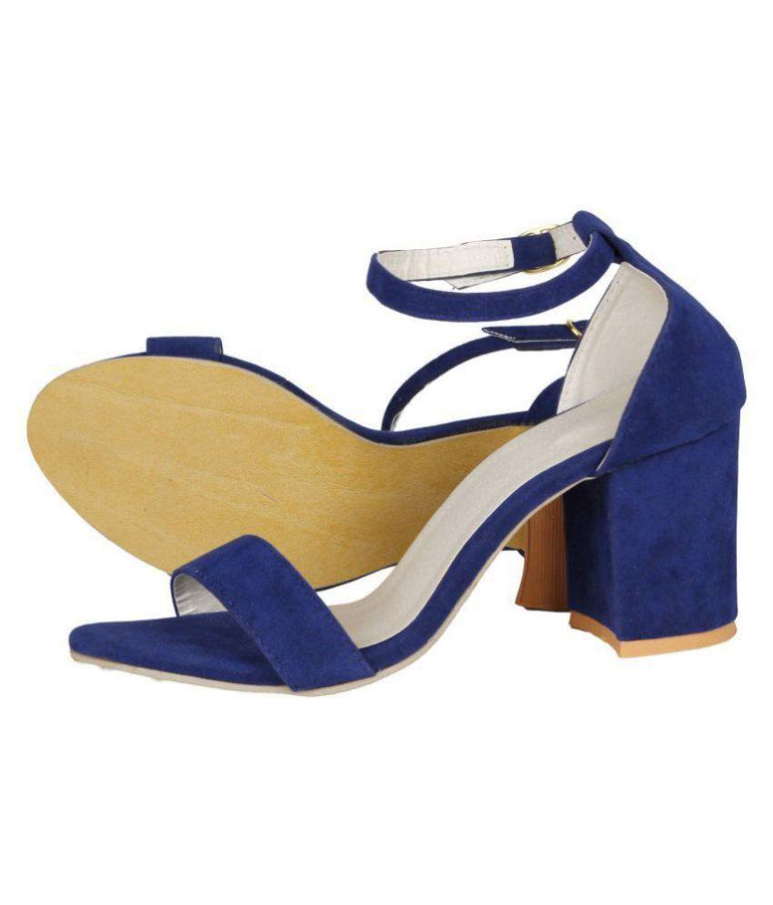 3d6336f33227 SHOFIEE Blue Block Ankle Strap Heels Price in India- Buy SHOFIEE ...