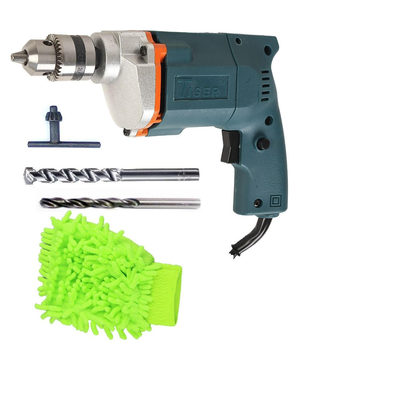 Tiger 10mm 350W Drill Machine with 2 High Quality Drill Bits + 1 Microfiber Duster Glove