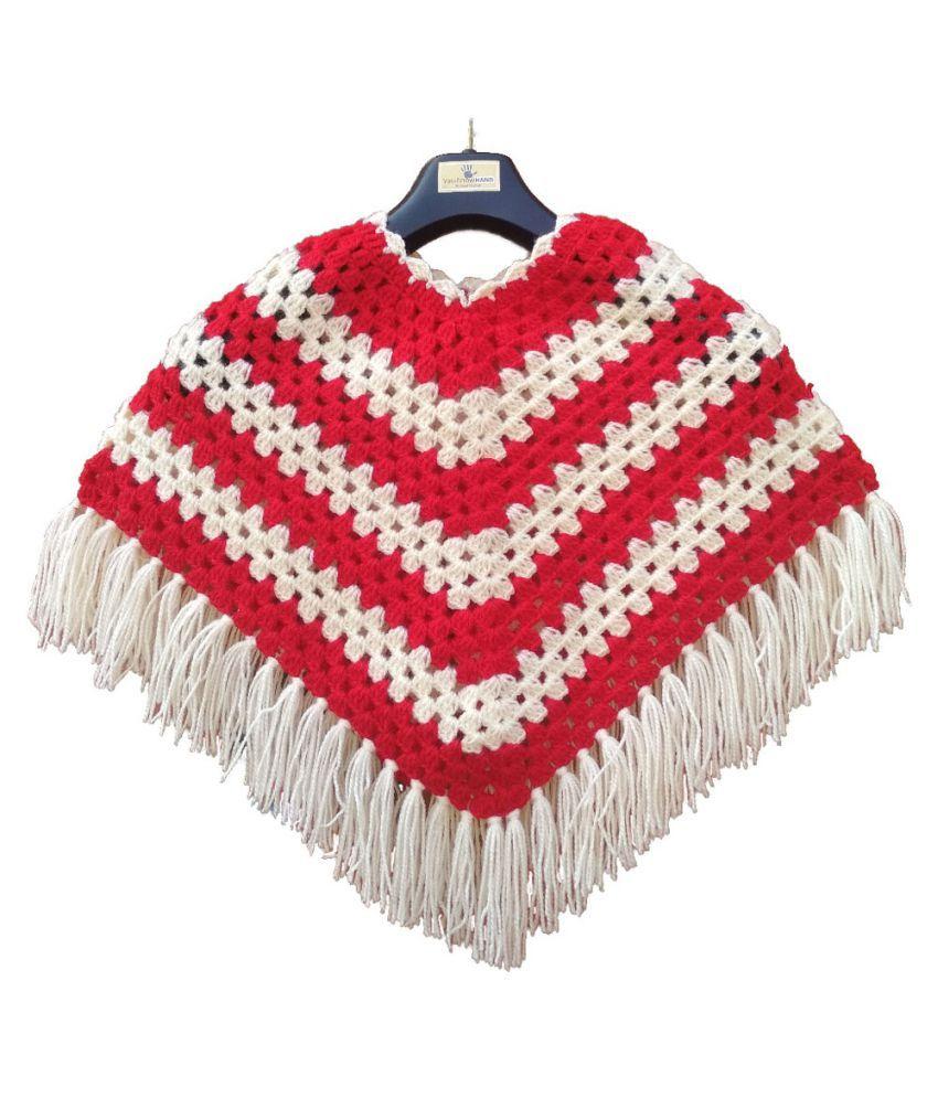 Vaishnowhand Woolen Hand Knitted Crochet Ponchu Stylish Design For