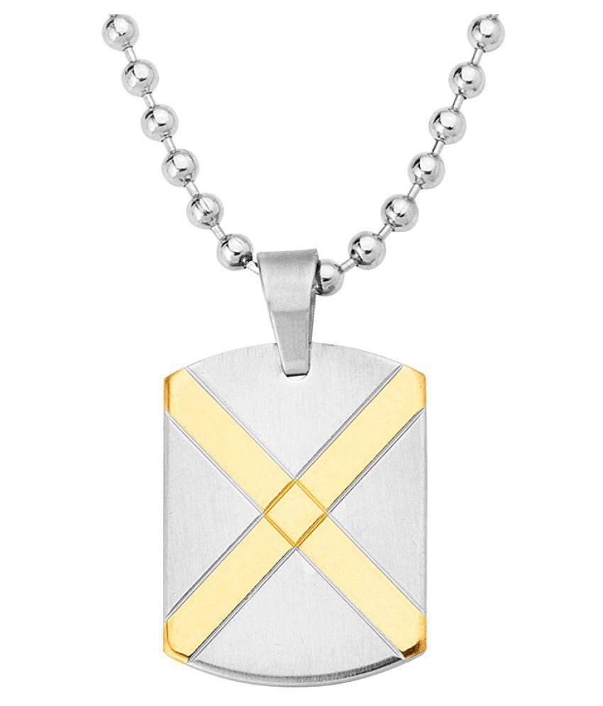 Dare by Voylla Dual Tone Faith and Trust Cross Symbol Pendant