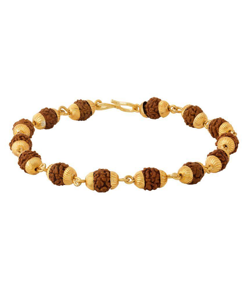 Dare by Voylla Gold Toned Rudraksha Beaded Bracelet
