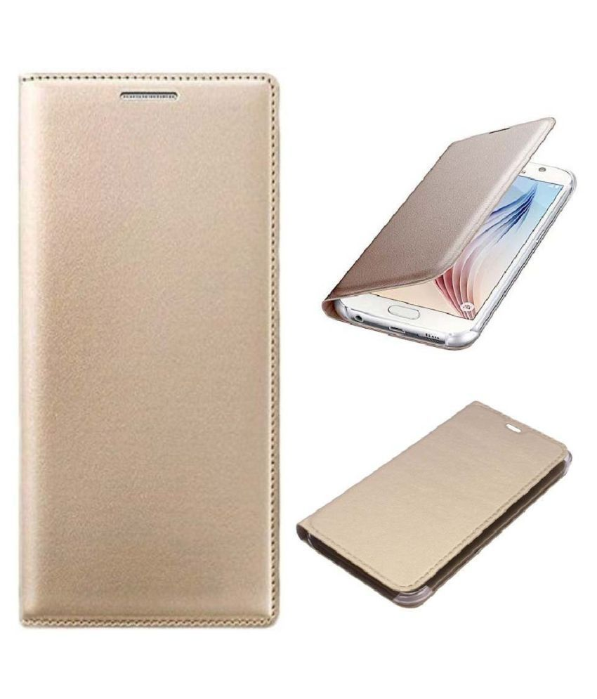 Lyf Flame 4 Flip Cover by Shanice - Golden leather flip cover