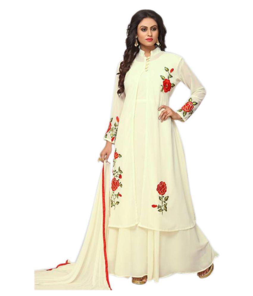 984041557caf Salwar Soul Off White Georgette Anarkali Gown Semi-Stitched Suit - Buy  Salwar Soul Off White Georgette Anarkali Gown Semi-Stitched Suit Online at  Best ...