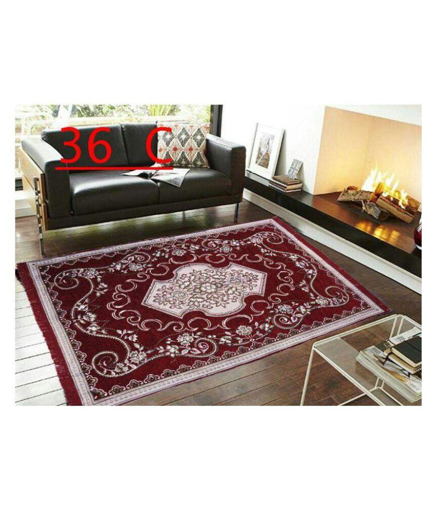 Kaizen Decor Maroon Chenille Carpet Ethnic 5x7 Ft