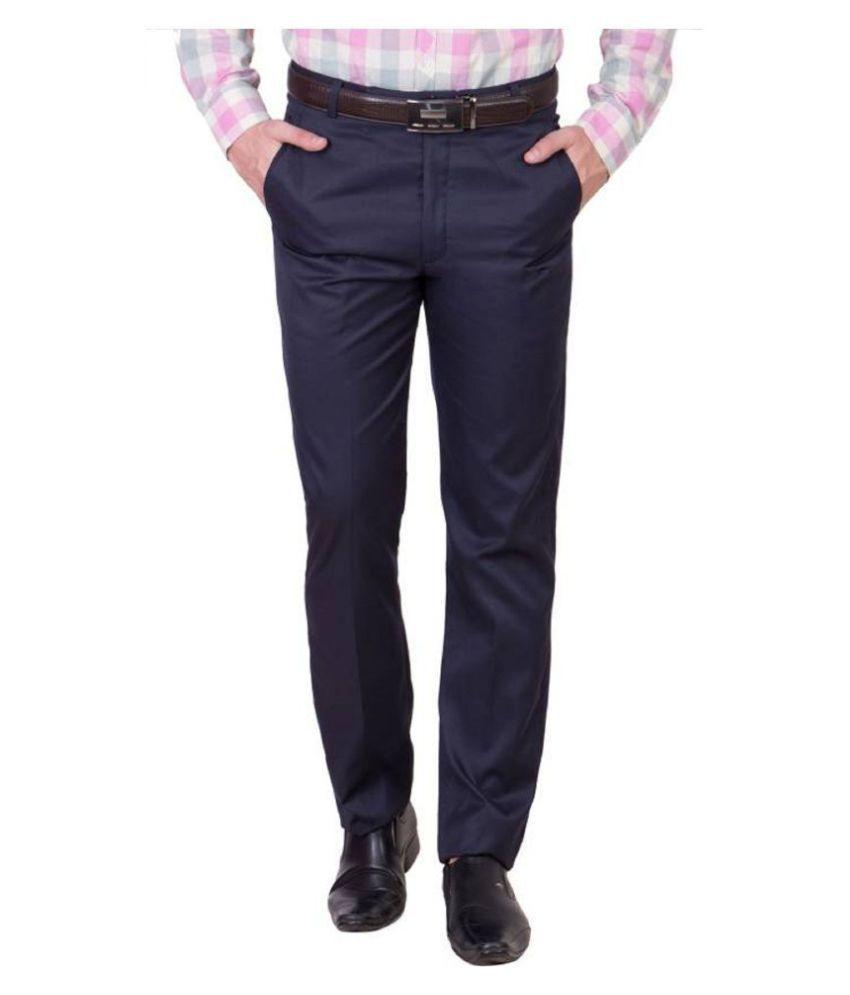 PIYURZ Blue Regular -Fit Flat Trousers