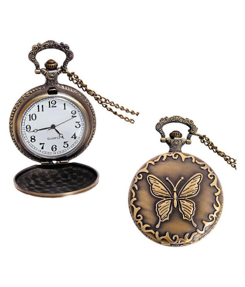 LUCKY JEWELLERY Round Analog Pocket Watch Chain