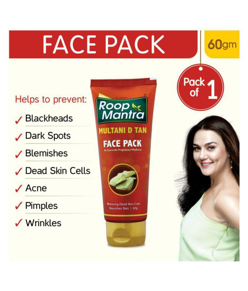 Roop Mantra Multani D Tan Face Pack 60gm Helpful In Removing Dead Skin Cells Pimples Acne Wrinkles Blackheads Whiteheads For All Skin Types Buy Roop Mantra Multani D Tan Face