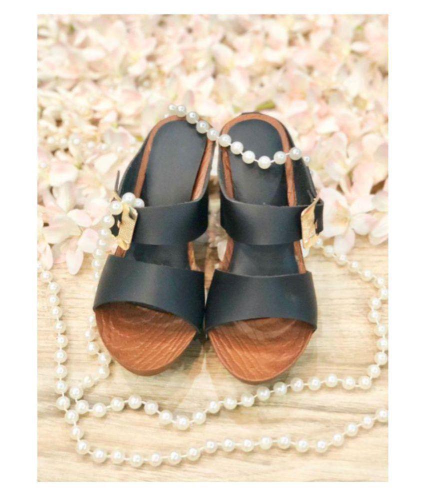c4657886392 Sindhi Footwear Black Wedges Heels Price in India- Buy Sindhi ...
