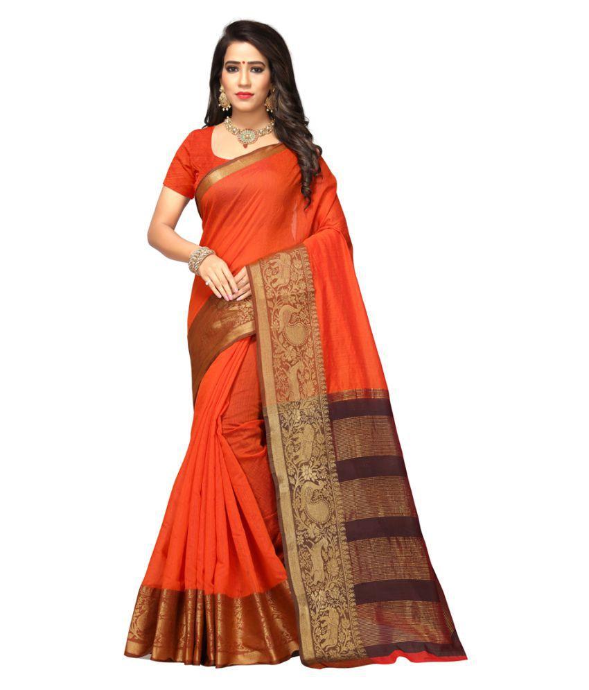 Maroosh Orange Cotton Silk Saree