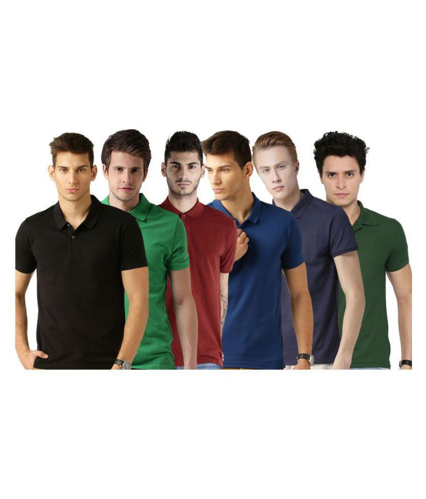 Galatea Multi Slim Fit Polo T Shirt Pack of 6