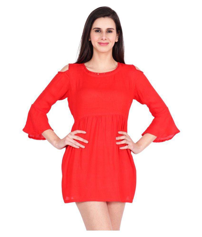 SBO FASHION Rayon Red Wrap Dress