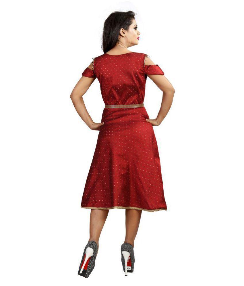 c1e8dcb75a32 MARUTINANDAN Satin Red Skater Dress MARUTINANDAN Satin Red Skater Dress ...