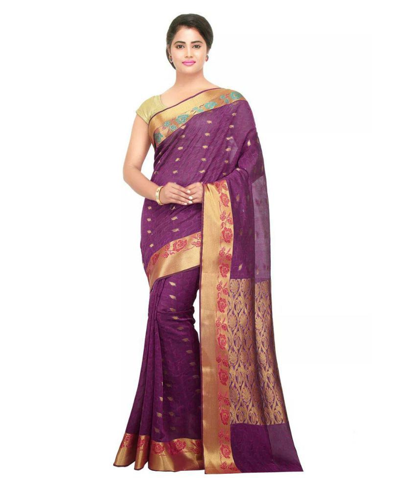 30762f45c4 Platinum Purple Cotton Silk Saree - Buy Platinum Purple Cotton Silk Saree  Online at Low Price - Snapdeal.com