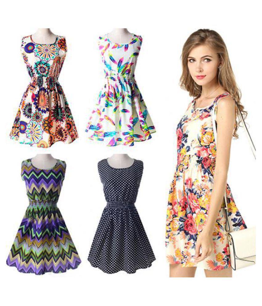 6a9b09317 Women Sexy Casual Flower Print Sleeveless Skirt Summer Chiffon Beach ...