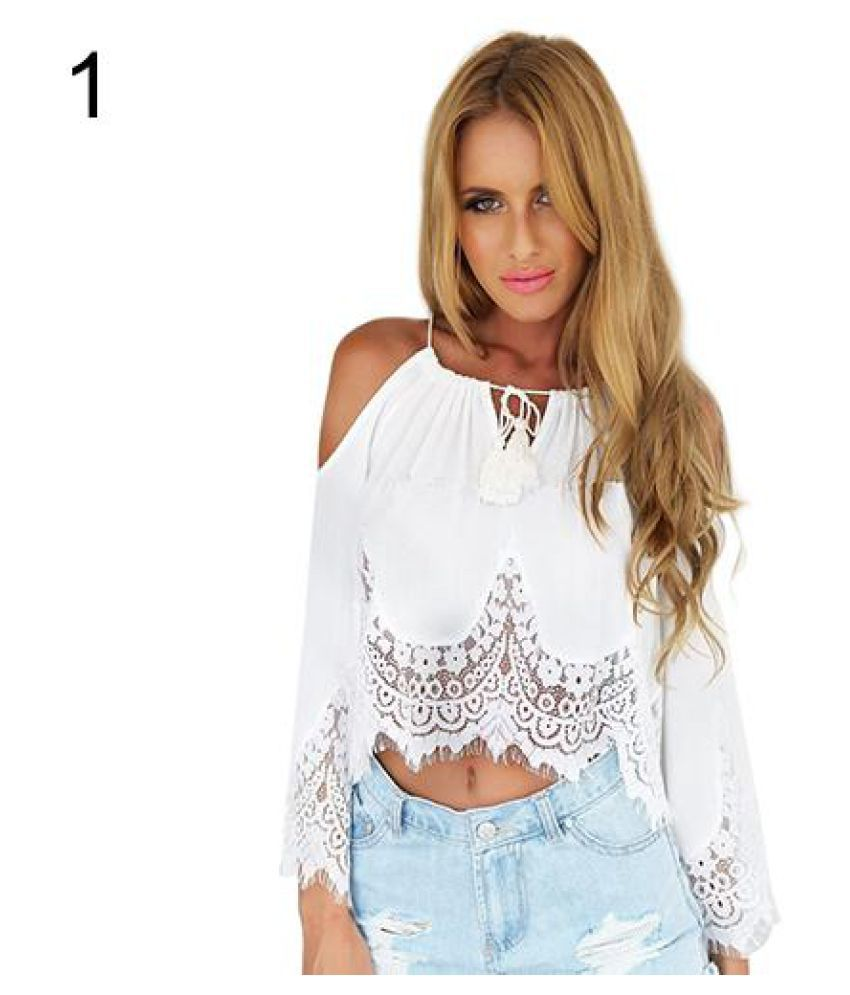 ac18723d87e5d1 Buy Women s Summer Sexy Lace Off Shoulder Long Sleeve White Shirt Tops  Strap Blouse Online at Best Prices in India - Snapdeal