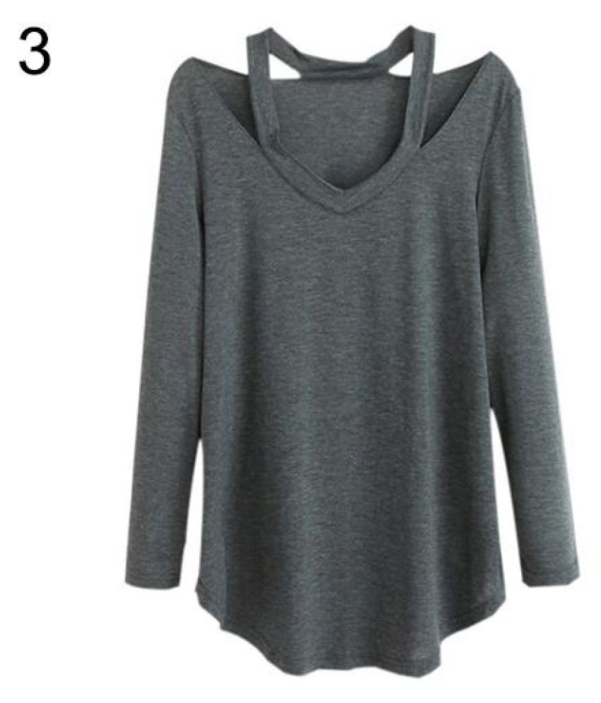7e3d93e7224 Buy Women's V-neck Plus Size Tops Loose Long Sleeve T-Shirt Casual Blouse  Dress Tee Online at Best Prices in India - Snapdeal