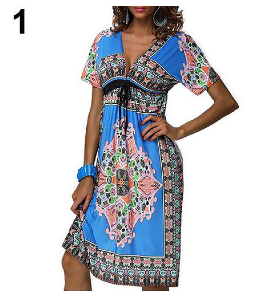 Women Bohemian Style Vintage Summer Print V-Neck Short Sleeve Beach Wear Dress