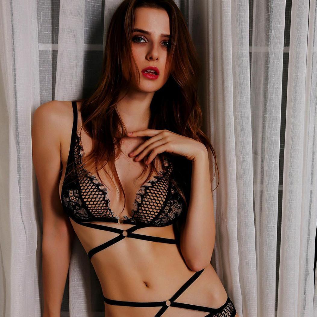 bb03dfe2aa0b ... Set Women's Sexy Lace Elastic Strappy Hollow Bandage Bras Panties  Underwear ...